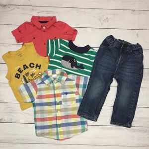 Lot of 5 Boy Carters set sizes 12/18 months